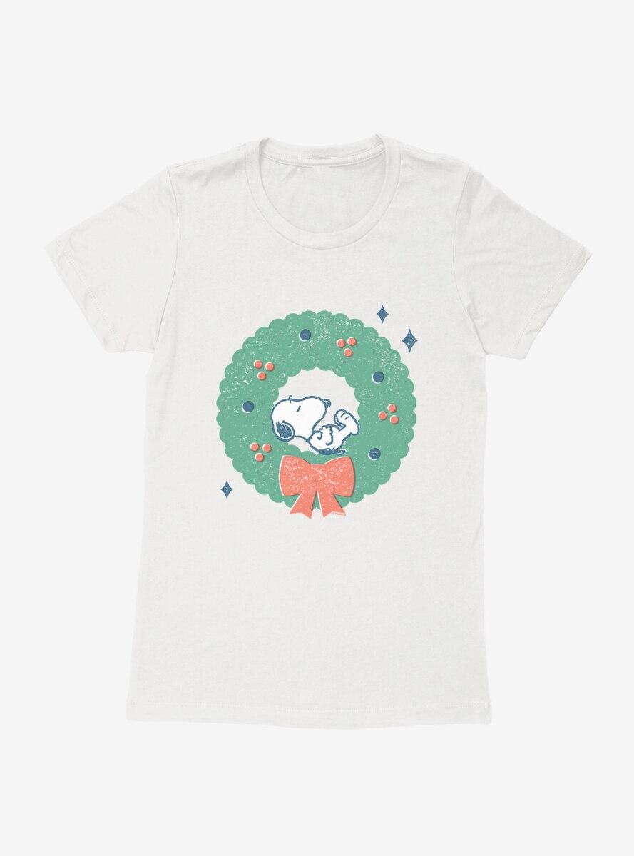 Peanuts Retro Napping Snoopy Wreath Womens T-Shirt