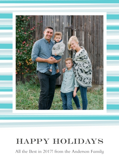 Holiday Photo Cards Flat Glossy Photo Paper Cards with Envelopes, 5x7, Card & Stationery -Blanket Border Happy Holidays