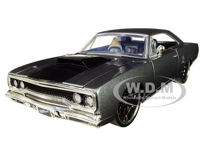 Doms Plymouth Road Runner Metallic Gray with Black Hood Stripe Fast & Furious Movie 1/24 Diecast Model Car by Jada