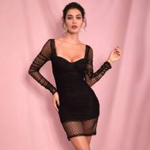 Sweetheart Bustier Dobby Mesh Bodycon Dress