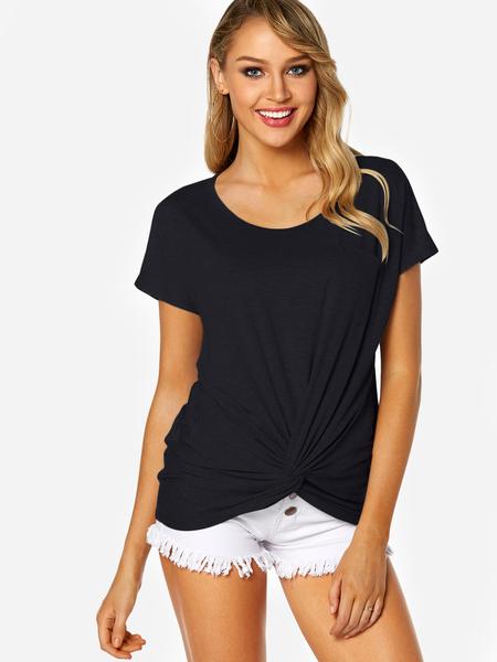 Yoins Black Round Neck Knot Design Chest Pocket T-shirt