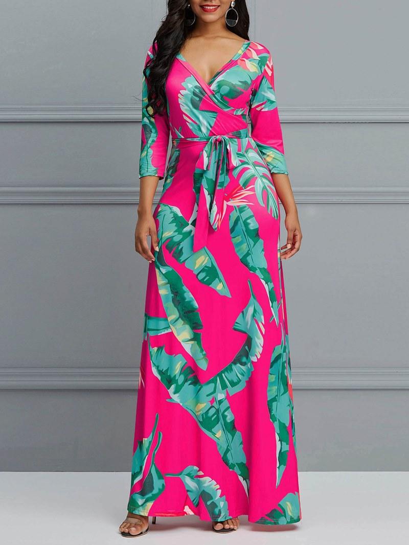 Ericdress V-Neck Plant Print Women's Dress