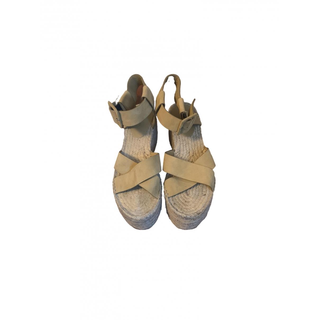 Celine \N Beige Leather Sandals for Women 38 EU