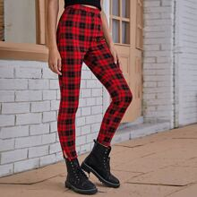 Split Thigh Plaid Leggings