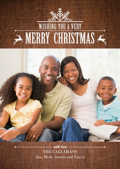 Christmas Photo Cards 5x7 Cards, Standard Cardstock 85lb, Card & Stationery -Woodland Snowflake