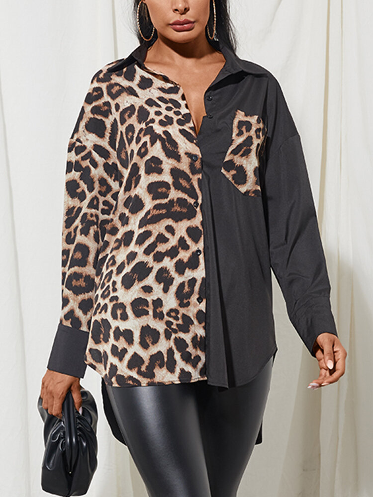 Leopard Printed Long Sleeve Turn-down Collar Patchwork Blouse