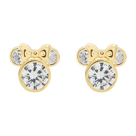 Disney 14K Yellow Gold Cubic Zirconia Minnie Mouse Stud Earrings, One Size , No Color Family