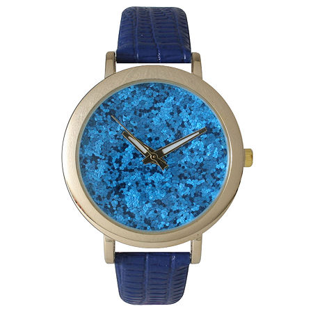 Olivia Pratt Womens Colored Metallic Stone Dial Royal Leather Watch 26359Royal, One Size , No Color Family