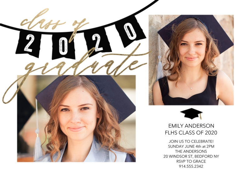 Graduation Invitations Flat Glossy Photo Paper Cards with Envelopes, 5x7, Card & Stationery -Grad Party 2020 Flags by Tumbalina