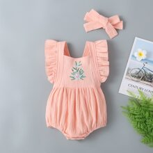 Baby Girl Floral Embroidered Bodysuit & Headband
