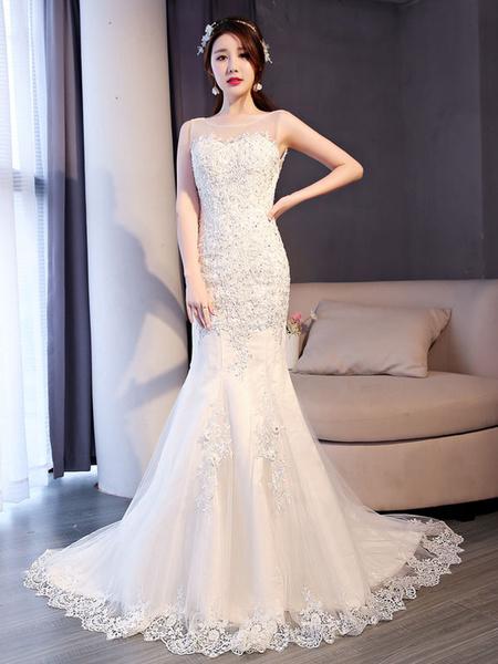 Milanoo Mermaid Wedding Dresses Lace Ivory Beading Sleeveless Bridal Dress With Train