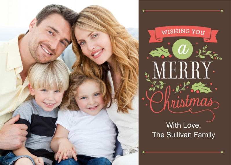 Christmas Photo Cards Flat Glossy Photo Paper Cards with Envelopes, 5x7, Card & Stationery -Christmas Lettering