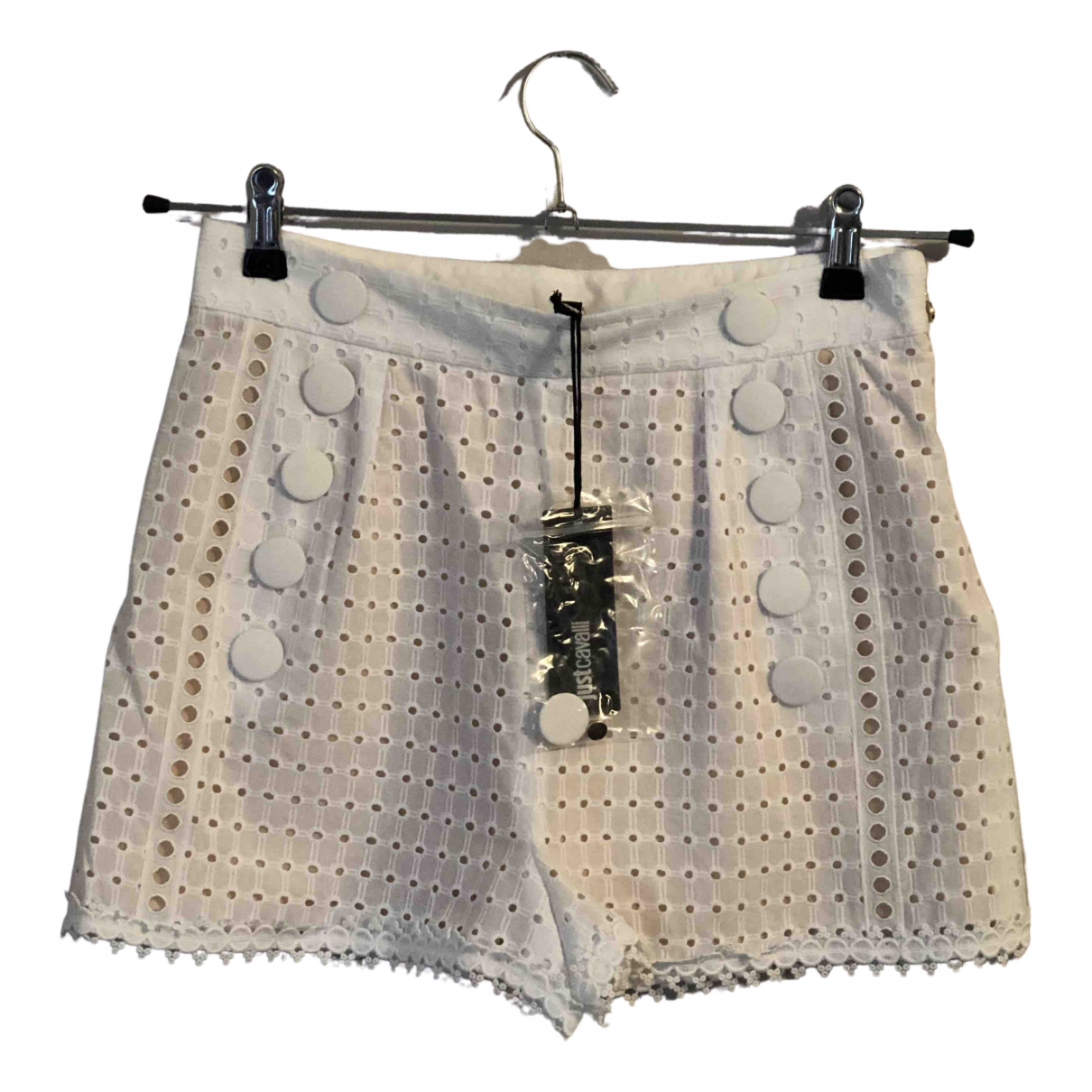 Just Cavalli \N White Cotton Shorts for Women 42 IT
