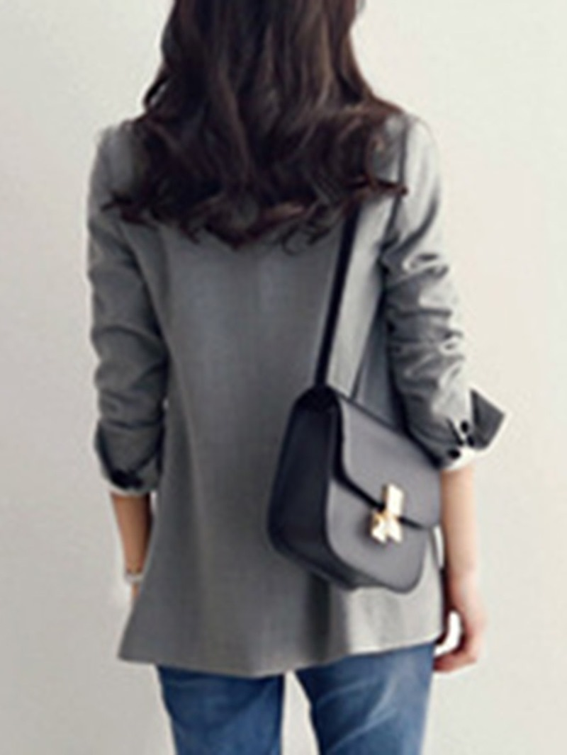 Ericdress Notched Lapel Long Sleeve Plain Regular Mid-Length Casual Blazer