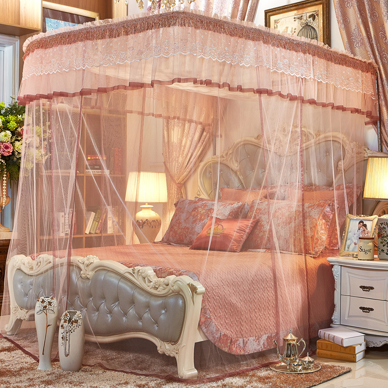 Luxury Style U-Shape Guide Stainless Steel Bracket Polyester Retractable Mosquito Bed Nets