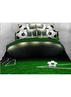 Vivilinen 3D Soccer Ball on the Green Field Printed 4-Piece Bedding Sets