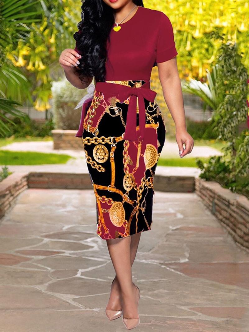 Ericdress Short Sleeve Round Neck Print Mid Waist Summer Dress