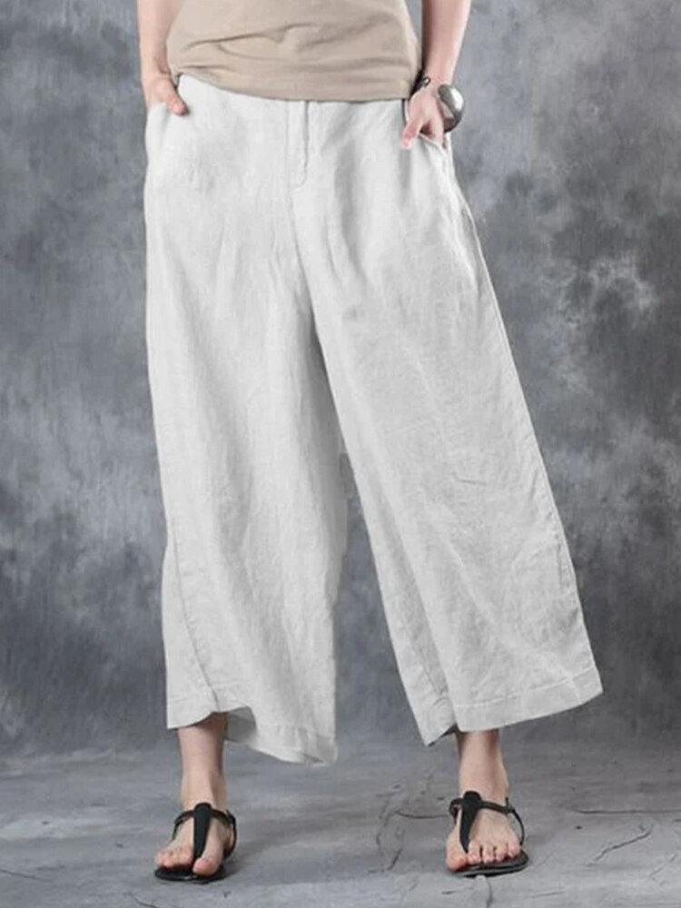 Elastic Waist Wide Leg Solid Color Casual Pants For Women