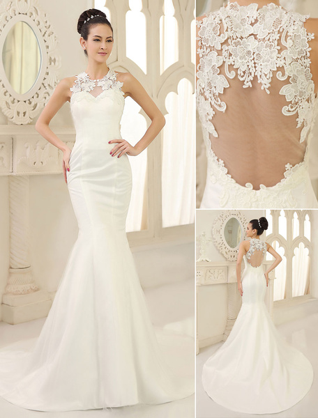 Milanoo Wedding Dresses Mermaid Bridal Dress Lace Applique Satin Illusion Keyhole  fishtail Wedding Gown