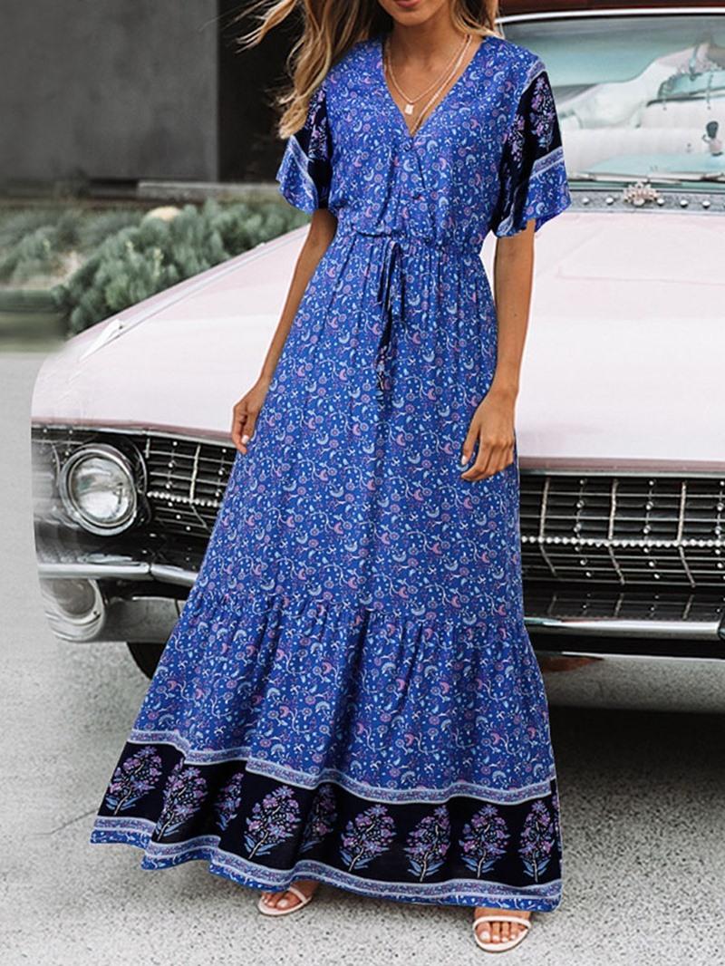 Ericdress Floral Print Expansion Lace-Up V-Neck Floor-Length Summer Dress
