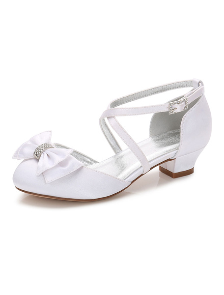 Milanoo White Flower Girl Shoes Round Toe Rhinestones Bow Criss Cross Party Shoes
