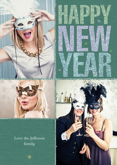 New Year's Flat Glossy Photo Paper Cards with Envelopes, 5x7, Card & Stationery -Happy New Year