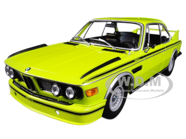 1973 BMW 3.0 CSL (E9) Coupe Yellow with Stripes Limited Edition to 504 pieces Worldwide 1/18 Diecast Model Car by Minichamps