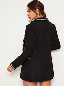 Contrast Trim Pearl Beaded Tweed Blazer