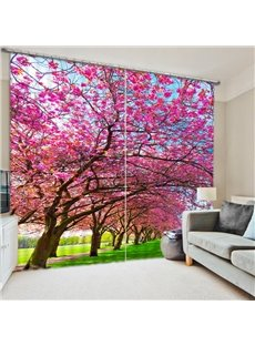 Path with Pink Flowers Tree 3D Printed Polyester Curtain