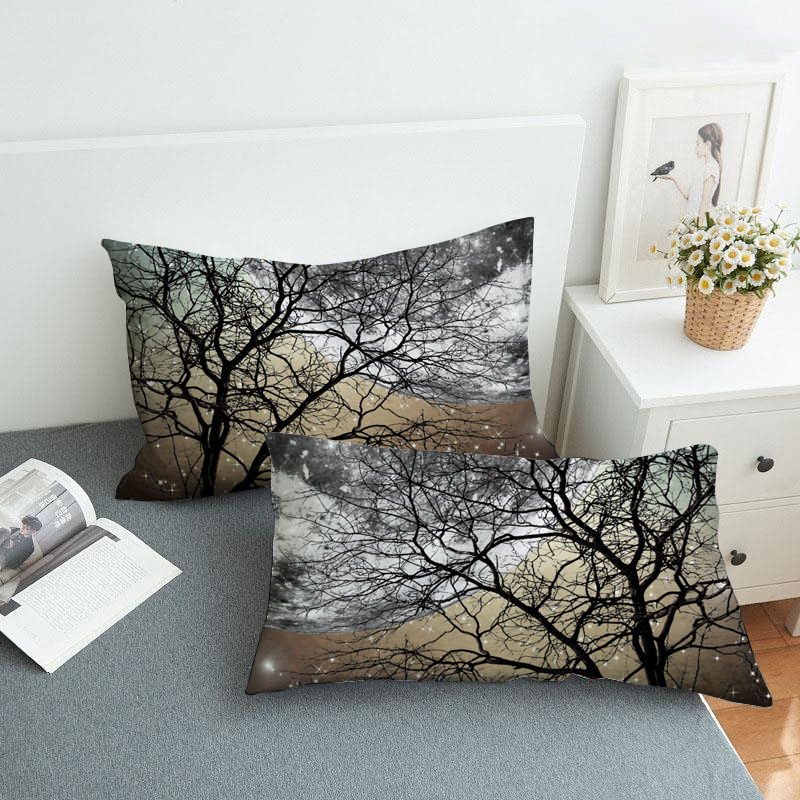 Black Branch and Moon Reactive Printing 2-Piece Polyester Pillowcase