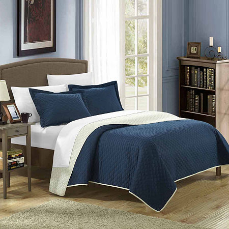 Chic Home Teresa Reversible Quilt Set, One Size , Blue
