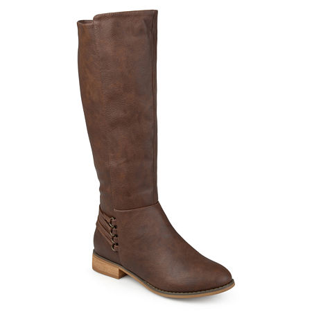 Journee Collection Womens Marcel Riding Boots Block Heel, 6 1/2 Medium, Brown