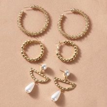 3pairs Pearl Decor Textured Earrings