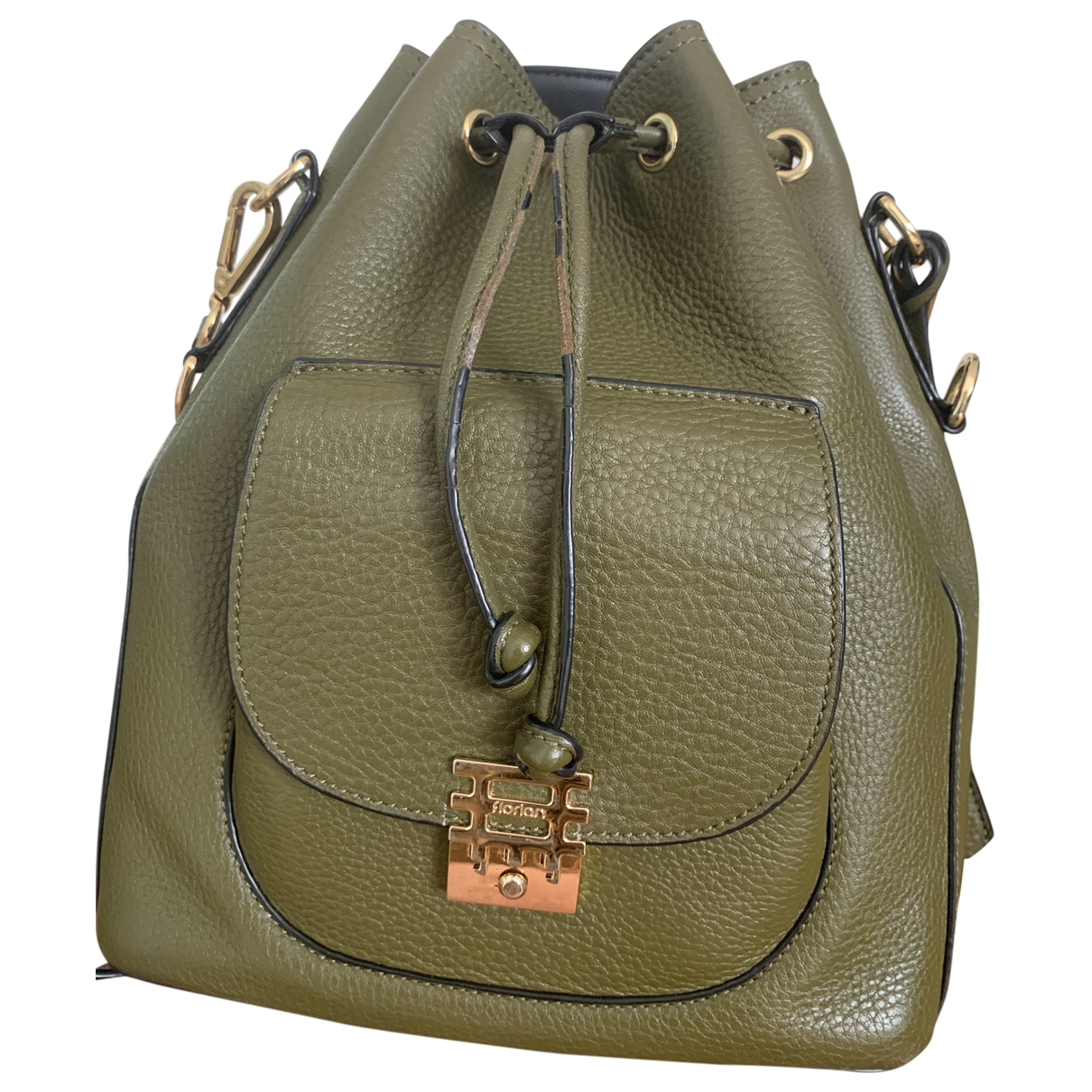 Non Signé / Unsigned \N Green Leather backpack for Women \N