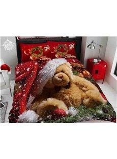 Brown Bear Wearing Christmas Hat Digital Printing Cotton 3D 4-Piece Bedding Sets/Duvet Covers