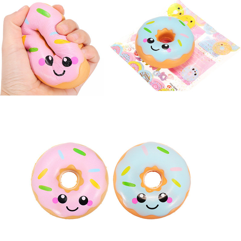 Kawaii Smiling Face Donuts Charm Bread SquishyKids Toys With Package