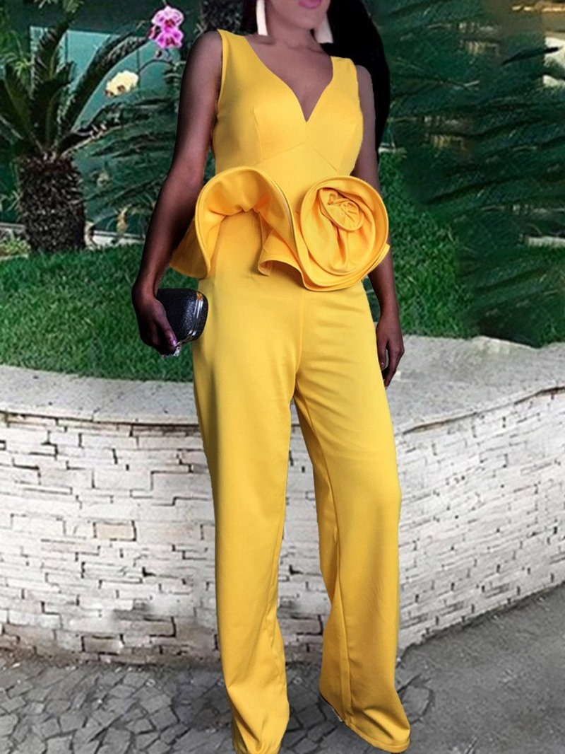 Ericdress Sexy Full Length Plain High Waist Women's Slim Jumpsuit