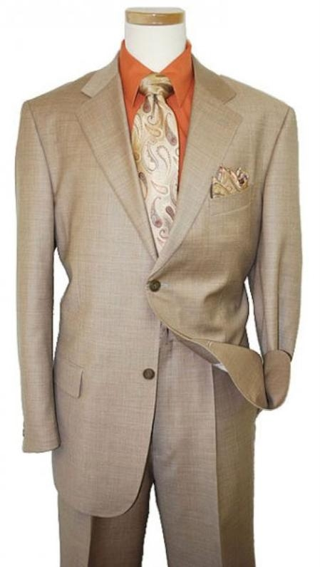Mens Two Button Dark Tan Coffee Suit