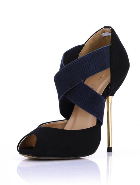 Milanoo Sandalias cruzadas de piel sintetica de color negro de estilo sexy
