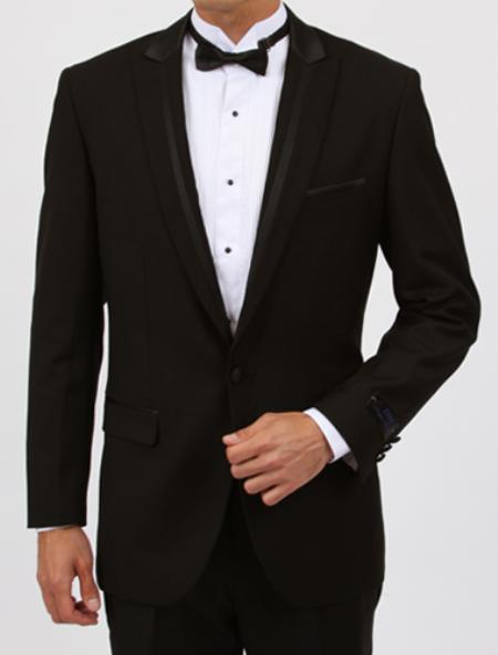 Peak lapel flat front pants 1 Button Black Tuxedo with Satin Collar