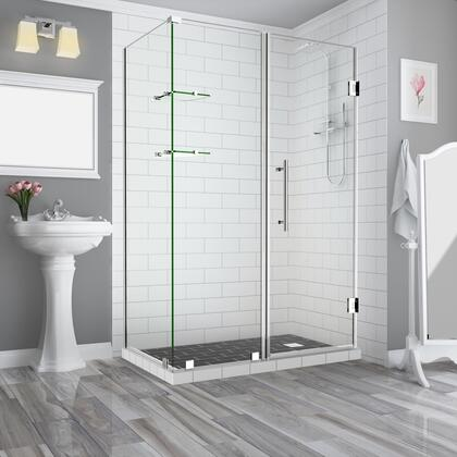 SEN962EZ-CH-763830-10 Bromleygs 75.25 To 76.25 X 30.375 X 72 Frameless Corner Hinged Shower Enclosure With Glass Shelves In