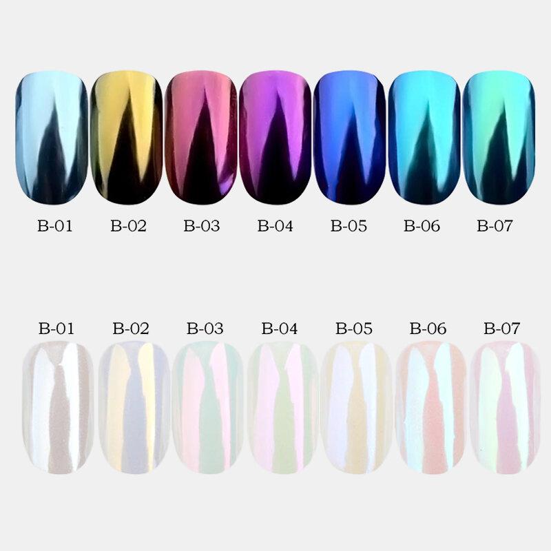 7 Colors Shell Nail Mirror Powder Nail Glitters For DIY Nail Art Chrome Decorations Nail Beauty