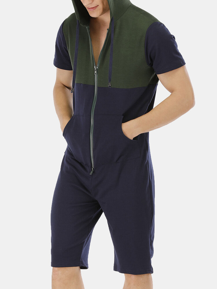 Mens Colorblock Patchwork Short Sleeve Hooded Casual Jumpsuits Shorts