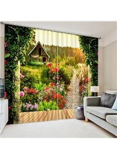 Log Cabin and Path with Flowers Printed Custom Living Room 3D Blackout Curtain