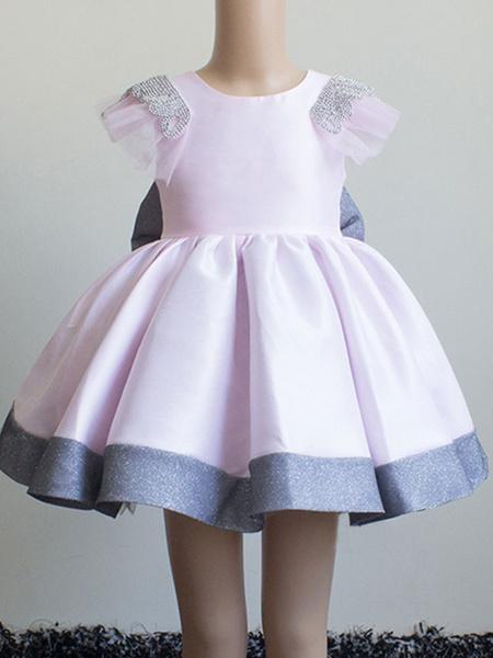 Milanoo Flower Girl Dresses Jewel Neck Short Sleeves Bows Kids Social Party Dresses