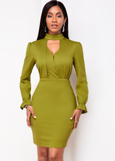 Cocktail Party Dress Long Sleeve Keyhole Neckline Bodycon Dress - L