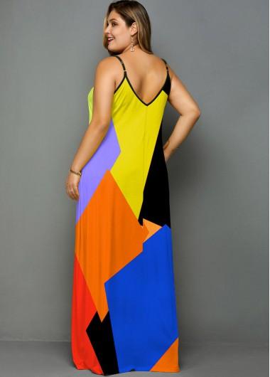 Color Block Spaghetti Strap Plus Size Maxi Dress - 2X