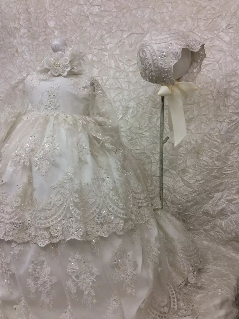 Ericdress Infant Beading Appliques Baby Girls Christening Gown