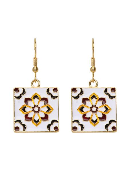 Milanoo Earrings Blond Ruched Metal Pierced Women Jewelry