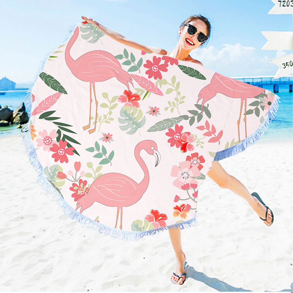 Flamingo Round Beach Towel With Tassels Microfiber 150cm Picnic Blanket Mat Tapestry